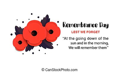 Remembrance Day vector poster. Lest We forget. Paper cut Red Poppy flower