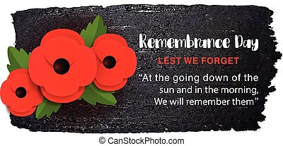 Remembrance Day vector poster on a hand drawn ink background.