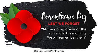 Remembrance Day vector poster on a hand drawn ink background. Lest We forget.
