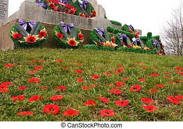 Rememberance Day, memorial, poppies, Windsor, Nova Scotia
