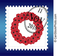 remembrance sunday stamp vector