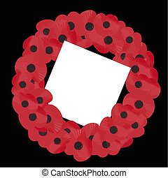 remembrance wreath vector - poppy wreath for remembrance...
