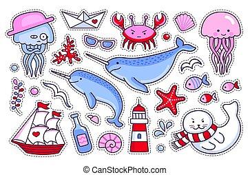 remendos, cobrança, mar, adesivos, emblemas, pins.