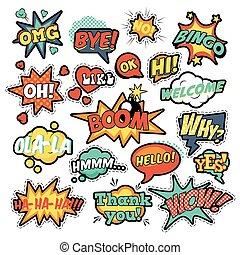 remendos, emblemas, arte, adesivos, estouro, moda, fala, cômico, bolha