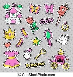 remendos, emblemas, coração, coroa, ilustração, ring., vetorial, menina, adesivos, princesa, castelo