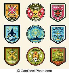 remendos, exército, set., etiquetas, emblemas, vetorial, forças, militar