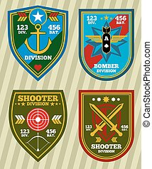 remendos, jogo, exército, emblemas, vetorial, unidade, marinha, militar, especiais