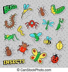 remendos, jogo, textile., insetos, doodle, impressões, bugs, vetorial, adesivos, emblemas