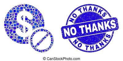remerciement, non, timbre, bleu, gratté, cachet, dollar, interdit, mosaïque