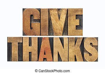remerciement, type, bois, donner
