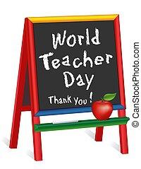 remercier, 5, pomme, prof, jour, you!, childrens, mondiale, tableau, prof, octobre, chevalet