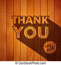 remercier, bois, typographie, arrière-plan., vous, carte