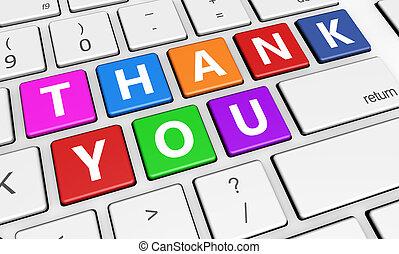 remercier, clavier, signe, vous