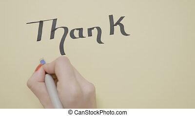 remercier, clous, mains, stylo écriture, papier, femelle noire, vide, utilisation, vous, morceau, épais, rouges