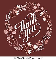 remercier, collection., cadre, signe, automne, mariage, floral, vous