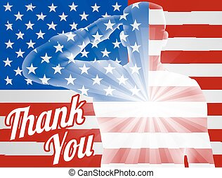 remercier, drapeau, américain, vous, jour vétérans