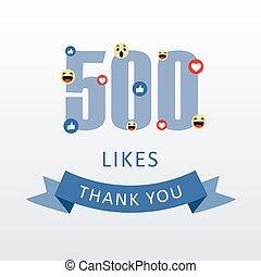 remercier, goûts, gratitude, 500, nombre, heart-, vous, média, ecard, social, emoji