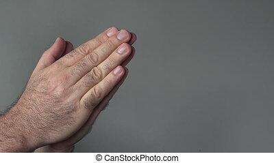remercier, homme, mains
