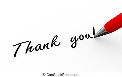 remercier, illustration, stylo écriture, vous, 3d