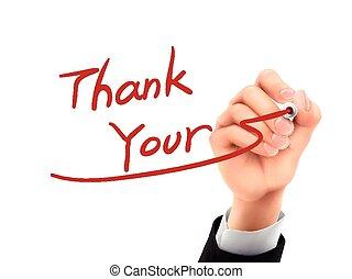 remercier, main, 3d, vous, écrit
