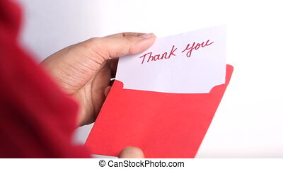 remercier, main, lettre, tenue, femmes, grand plan, vous