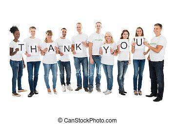 remercier, projection, signe, confiant, vous, volontaires