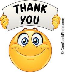 remercier, signe, emoticon, vous