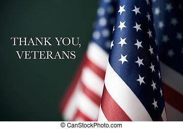 remercier, texte, américain, vétérans, vous, drapeaux