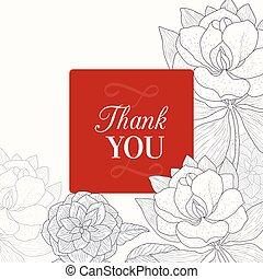 remercier, vendange, cadre, vecteur, rouge noir, mariage, floral, vous, dessin, carte