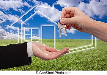 remettre, clés, sur, champ ciel, icône, maison, herbe,...