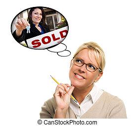 remettre, femme, clés, sur, agent, pensée, nouveau, bulles