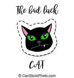 remiendo, gato, moda, negro, elemento