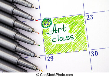 Reminder Art class in calendar with pens