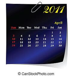 reminder calendar for April 2011