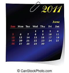reminder calendar for June 2011