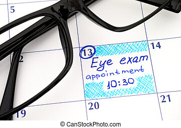 Reminder Eye exam appointment in calendar with glasses -...