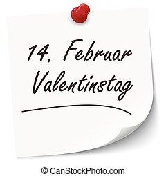 Reminder February 14 Valentine's Day on paper - Reminder...