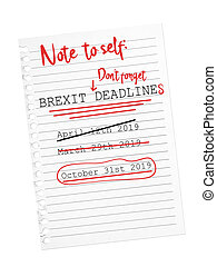 Reminder note Brexit October deadline. Torn sheet of paper.