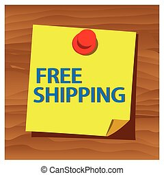 Reminder paper word free shipping vector. Vector Illustration.