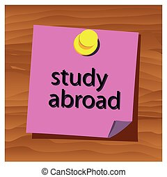Reminder paper word study abroad vector. Vector...