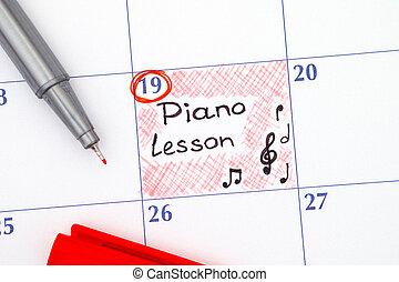 Reminder Piano Lesson in calendar