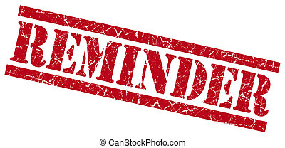 reminder red grunge stamp isolated on white