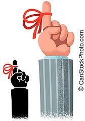 Reminder Ribbon - Cartoon of index finger with red reminder...