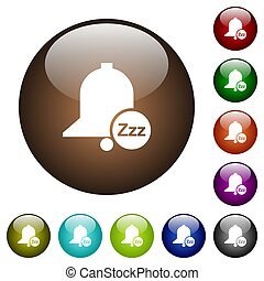 Reminder snooze white icons on round glass buttons in multiple colors