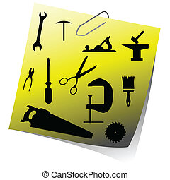 reminder with tools art vector illustration