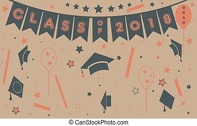 remise de diplomes, classe, de, deux mille, dix-huit