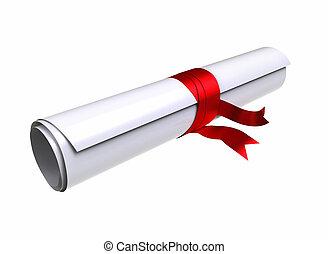 remise de diplomes, diplôme, -, attachant voie accès, inclure