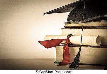 remise de diplomes, rouleau, et, livre, pile