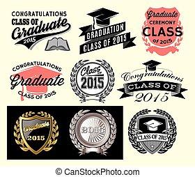 remise de diplomes, secteur, ensemble, pour, classe, de,...