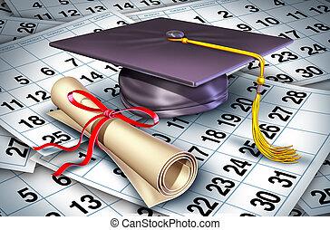 remise de diplomes, temps